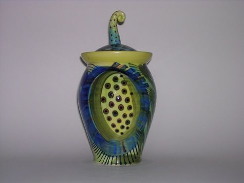087 ceramic jar by Pru green